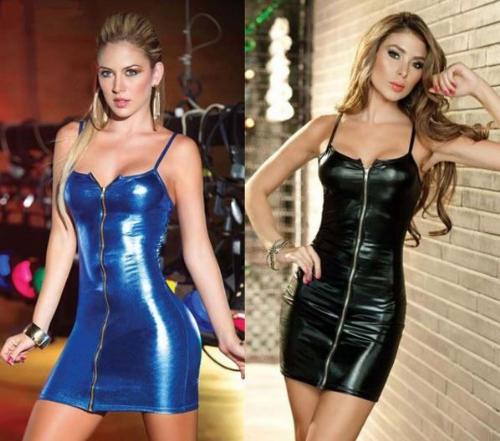 Dress Women's Bodycon Zip Front Sexy Dominatrix Role Play Club Mini Dress - Zabardo